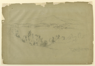 Drawing, Ossipee Mountain and Lake Winnipesaugee from Wolfeboroneck, Looking Northwest