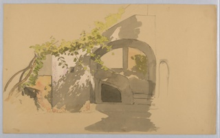Sketch of a doorway in shadow with a vine growing on left.