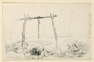 Drawing, Outside Fireplace, North Conway, New Hampshire