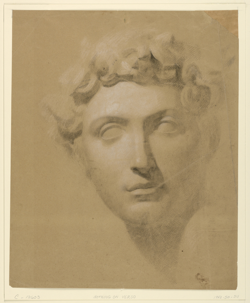 Drawing, Male Head From a Plaster, 1840