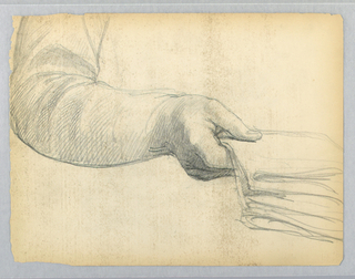 Possibly study for portrait. Right arm, holding papers. Verso: Sketch of feet, seen from the front.