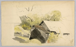 Sketch of a farm building and large rock.