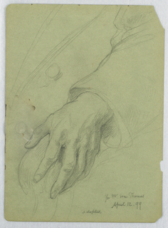 Left hand on a chair arm, seen from the figure's left. Verso: Outlined sketch of Mr. Thomas in portrait pose. Paper in his right hand.
