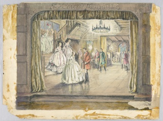 Ballroom scene on a stage, Merry Christmas is written on top center stage; young girls descending on staircase at left, greeted by young men at base of stairs. Scene of old England, 19th century settings.
