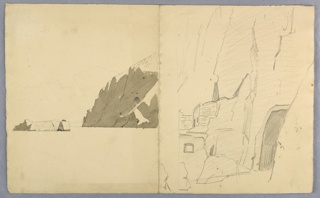 Sketch of a coastal cliff and rock formation.