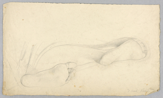Study of the soles of the feet of a reclining woman.  Parts of right leg and the bottoms of both feet are shown.