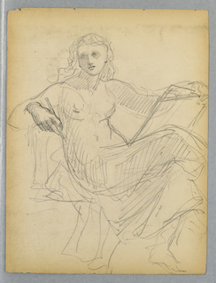 Recto: Woman in drapery, seated, with pencil and slate. Her legs crossed, turned to the right, her head turned slightly to the left. Verso: Horizontal sketch with crossed legs and part of the coat of Mr. Winthrop.