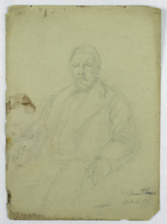 Man seated facing slightly left, his hands on the chair arms. Verso: A right hand holding papers.