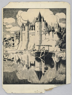 Picture is roughly divided in half with rendering of castle in upper part, its reflection in the lower part. A boat, with its back towards the viewer is resting on the water in the center foreground. Portion of village is seen at left.