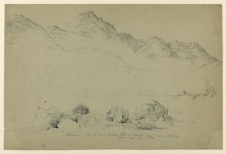 Drawing, Chocorna, Mountain Landscape