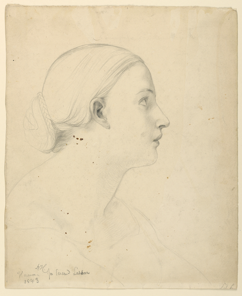 Woman's head and shoulders, in right profile. Hair in a bun, wrapped in a braid, at the nape of her neck.