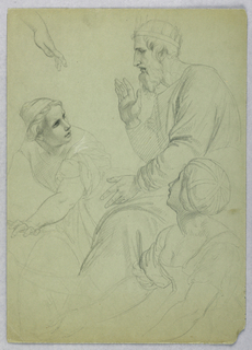 Drawing, King and Two Women, Separ, ca. 1845