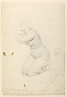 Nude female figure kneeling, turned toward the left. Two additional sketches of figure, at right.