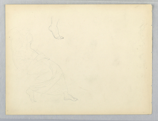 Seated woman at left, lightly sketched, with head and arms not shown. Right foot repeated above.