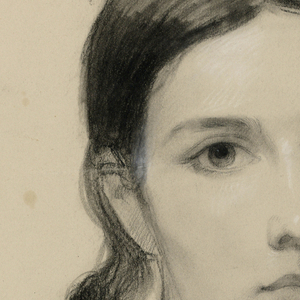 Frontal bust portrait of Sophie Huntington.