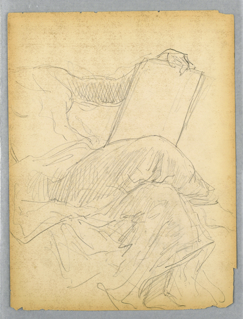 Woman in drapery, seated, turned to the right with her legs crossed. Her left arm rests on a tablet. Verso: Woman in same postion, with slate shaded and right arm not shown.