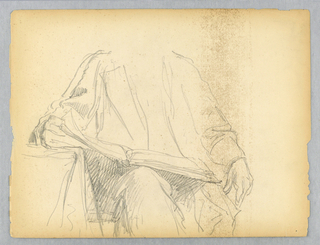 Man seated, facing frontally, with head and feet not shown. A table, at left. A book in his lap, held open by his right hand. Verso: A woman seated, holding a fan, turned to the right with her head facing frontally.