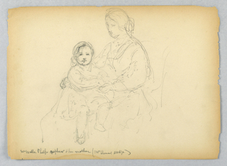 Woman seated facing left, with child on her lap, facing frontally. Verso: Two sketches of right arm holding a cane; two sketches of left arm, bent.