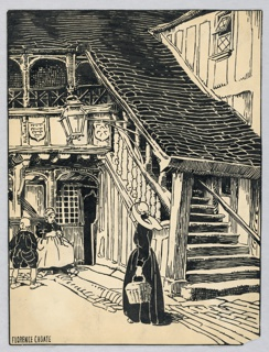 Covered stairway leads from lower right of page diagonally to balcony, partly seen at upper left. In lower left, woman sits knitting by a half-open door.  A young boy stands toward the left, with his back toward the viewer.  Lower center, a young woman holding a basket in her left hand faces the other figures.