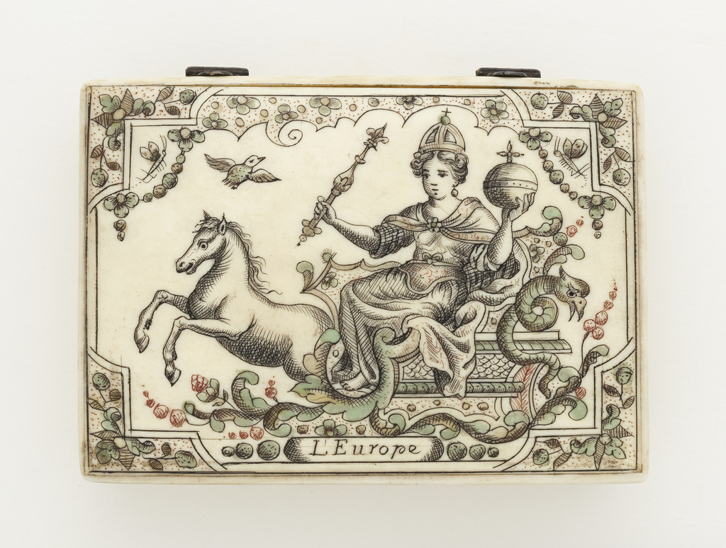 Game-counter box, rectangular, with hinged cover showing crowned female figure representing Europe, holding sceptre and orb, seated on a horse-drawn chariot. Inside, game counters. One of a set of four boxes (1960-1-13-1a/v / 4a/v).