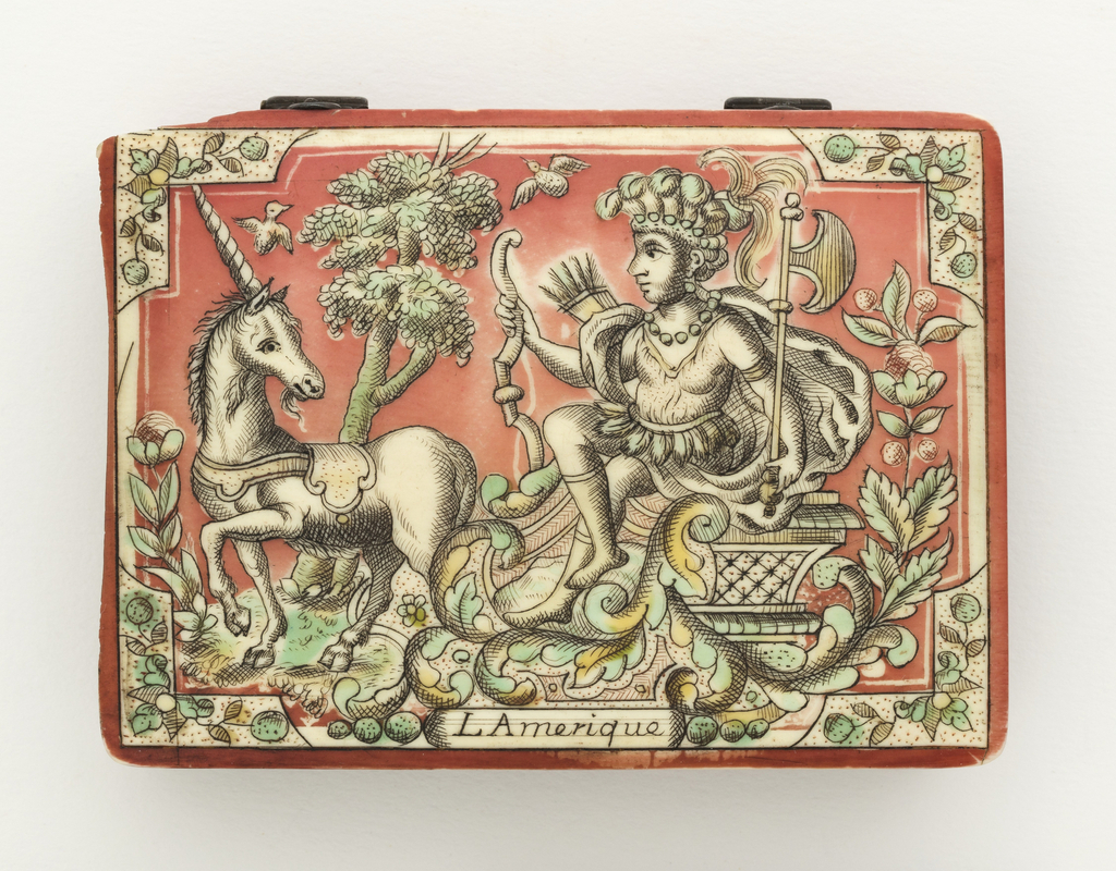 Game-counter box, rectangular, with red-, green-, and yellow-stained hinged cover showing female figure representing America, in a feather skirt and headdress, carrying bow, quiver, and tomahawk, seated on a unicorn-drawn chariot. Inside, game counters. One of a set of four boxes (1960-1-13-1a/v / 4a/v).