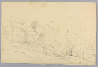Sketch of a hillside with a fence in the center and trees scattered throughout the composition.