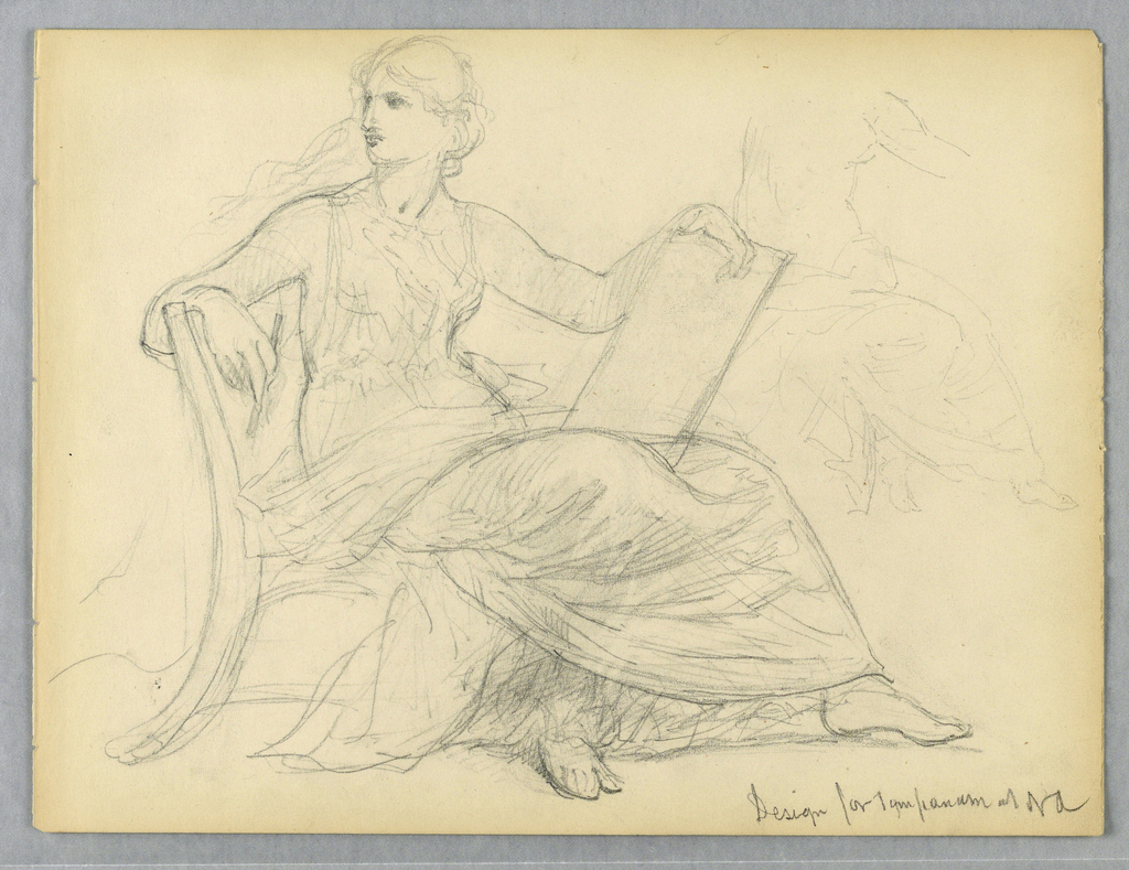 Recto: Woman seated in chair, her body turned to the right and her head turned toward the left. A slate or book in her lap, held up by the left hand and arm. Figure outlined again, at upper right. Verso: A seated man with an open book in his lap, facing right, with legs barely indicated.
