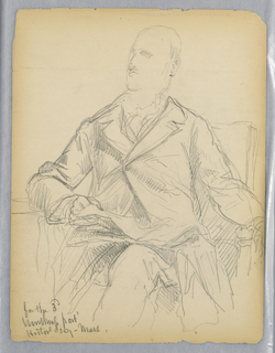 Man seated in an armchair, facing frontally, a table to his right and an open book on his lap. He looks toward the left. Verso: Unfinished sketch of same position, with jacket unbuttoned.