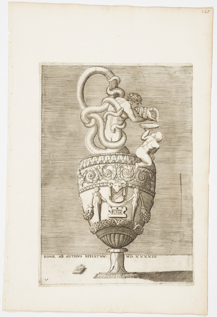 """Vertical rectangle. Ewer, with snakes entwining a nude man as handles and neck. He blows a conch shell, with a plate being held by a child beside it. The body is decorated with rinceaux and terms. Inscribed below: """"ROMAE AB ANTIQVO REPERTVM MD XXXXIII"""" and """"A.E.V."""" on a tablet."""