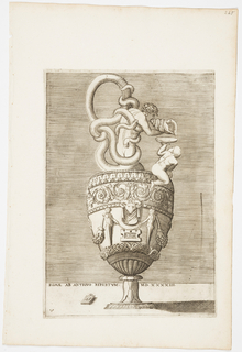 "Vertical rectangle. Ewer, with snakes entwining a nude man as handles and neck. He blows a conch shell, with a plate being held by a child beside it. The body is decorated with rinceaux and terms. Inscribed below: ""ROMAE AB ANTIQVO REPERTVM MD XXXXIII"" and ""A.E.V."" on a tablet."