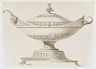 The tureen is composed of two separate design schemes: the left side includes banding of calyxes and the handle terminates in a human head helmeted with a cornucopia. The base is edged in triangular-shaped scallops. On the right the design shows a vine arabesque meander and the handle is formed by an elephant's head, trunk upraised.