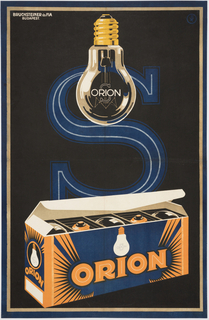 "Poster advertising Orion brand light bulbs. Black background with letter ""S"" outlined in blue, evoking a fluorescent light. A box of Orion light bulbs is in the foreground in the lower register of the poster, printed in blue, orange, and white. A light bulb hangs in the center of the upper register, with the word ""Orion"" printed across it, and printed in white and gold."