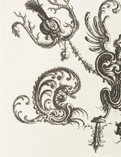 Ornamental grotesque forms composed of auricular cartilage-like forms with a winged, turbaned man with bird legs and wings for arms. Above, two fantastic beasts hold garlands, and at either side, dragons.