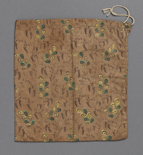 Plain square calico pocket; design of foliage and flowers in yellow, green, and dark brown on light brown ground. Drawstring at top.