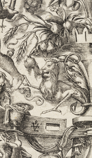 Vertical rectangle showing a dense grotesque scene with figures with fantastic anthropomorphic figures, flora and fauna.