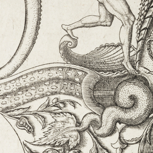 A whale, on the lip of the pitcher, is about to swallow Jonah. On the body is a scene with sea monsters and sea gods, one of whom is carrying away a woman.