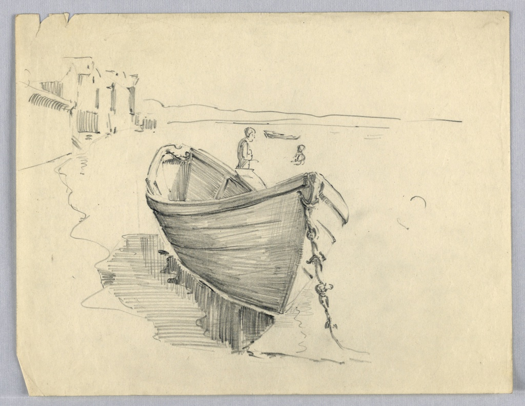 In foreground, center, perpendicular view of large rowboat at anchor. Shore and buildings at left, figures in water, right background. Distant shoreline. Rowboat is drawn in great detail.