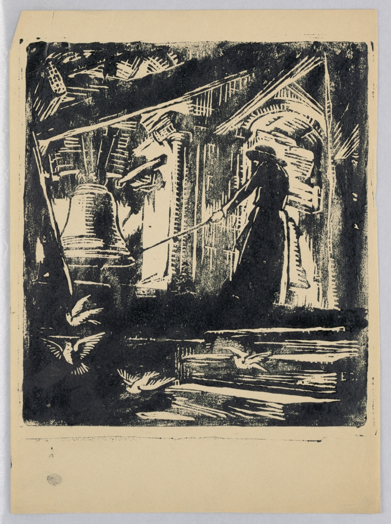 Architectural setting of inside of bell tower. Large bell hangs at left, figure on the right dressed in dark cloak and hat, is pulling at rope attached to bell. Doves fly at bottom of scene.