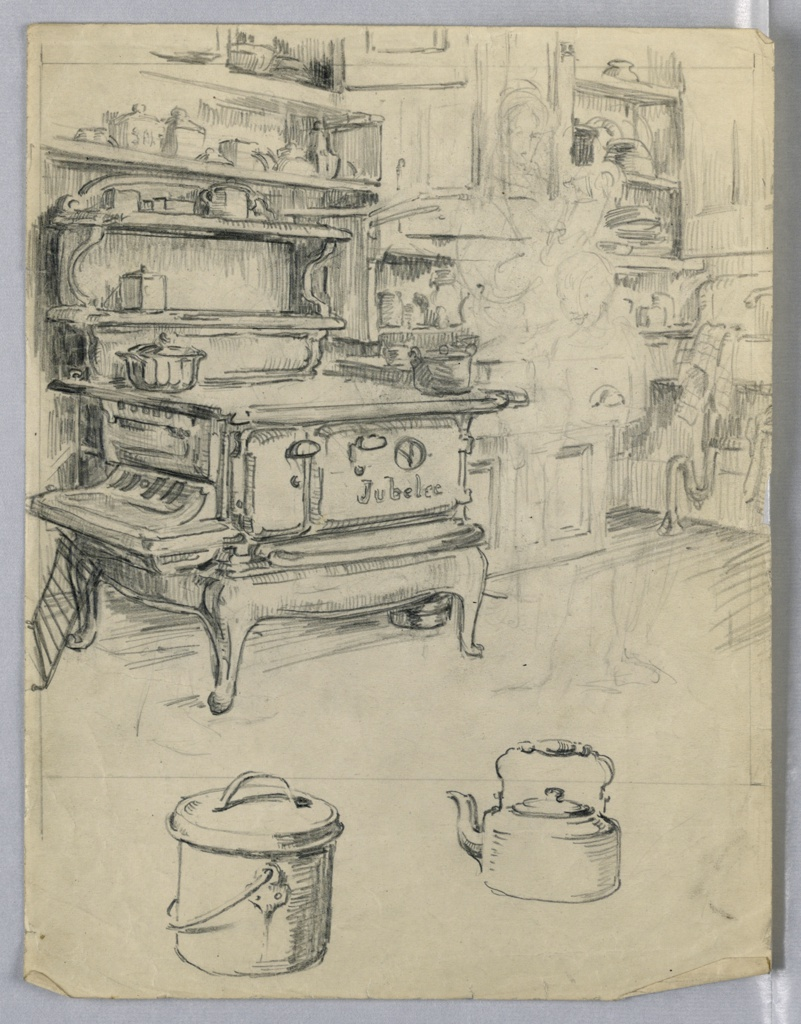 Stone, wood burning, in kitchen. Shelves, pots, above stove. Pans with pail and tea kettle in foreground. Cupboards right background. Erased sketch of woman and child, center right.