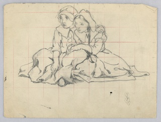 Two girls, each in long dress and caps, sitting on ground huddled together with arms about each other. The whole marked in measured grid.