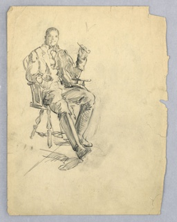 Figure of man in English dress, seated in carved chair, facing viewer with jovial expression. Both elbows rest on arms of chair, right hand holds beer mug; left hand holds pipe. Left knee is bent, right leg extended; both are booted.