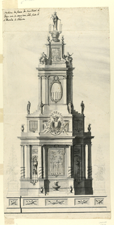Vertical composition of a tower-like structure. A dado is at the bottom with sprial-shaped candelabra and angels on pedestals sketched in pencil. The lower story of the tower shows columns and pilasters of Ionic order. A painting hangs on the central wall. Statues of saints stand in niches in the obliquelydispersed lateral walls. The upper story has a dado with an escutcheon on the front. Steps rise on the dado with statues standing at the corners of the lowest one. The story has pilasters of Corinthian order at the corners. An ovoidal painting is at the central wall. On top is a pedestal with two virtues and with a painted representation referring to the saint. A statue of the Virgin with the Child stands on a column on the pedestal. Many brackets carry candles.