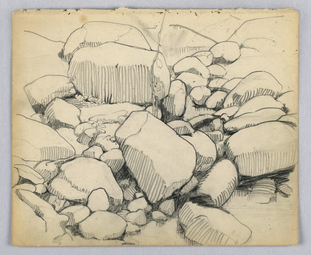 Drawing of rocks and stones, all somewhat rounded, by side of stream with shallow water. At center, small branch reaches upward from among stones with a few leaves.