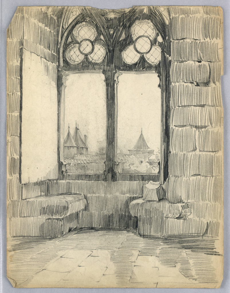 Pair of tall windows with trefoil tracery upper part, stone walls on either side. View through windows of towers and house tops.