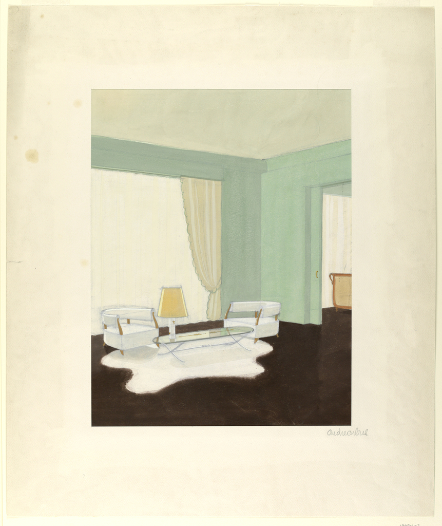Interior scene, corner of a room with two white chairs and oval round table over white rug.