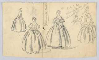 Three larger figures- woman in long gown seen from various angles- are at left center; at right, sketch of group of women conversing, turning, and leaning toward each other. Handwritten notes are scribbled between figures.