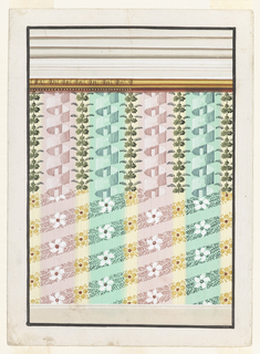 Groups of three narrow stripes and a broad stripe alternate above a dado and beneath an entablature, the bottom molding of which is colored green. The lower part of the design suggests waved bands for the stripes, except the central one of the narrow ones, showing ovoids. Strokes shadow the backgrounds. In the upper part are suggested a frieze motif for the broad stripes, a waved band with halves of rosettes in the wedges for the narrow stripes, framing the broad one, palmettes for the central narrow stripe. A garland of vine leaves and hanging blossoms is laid over the tops of the stripes.