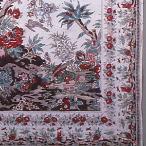 Mezzaro in a multicolored design on a white ground. Tree with many different blossoms, birds and insects. Urns in the right foreground. Inner floral border. Outer border with hunting scene and landscape repeated on three sides.