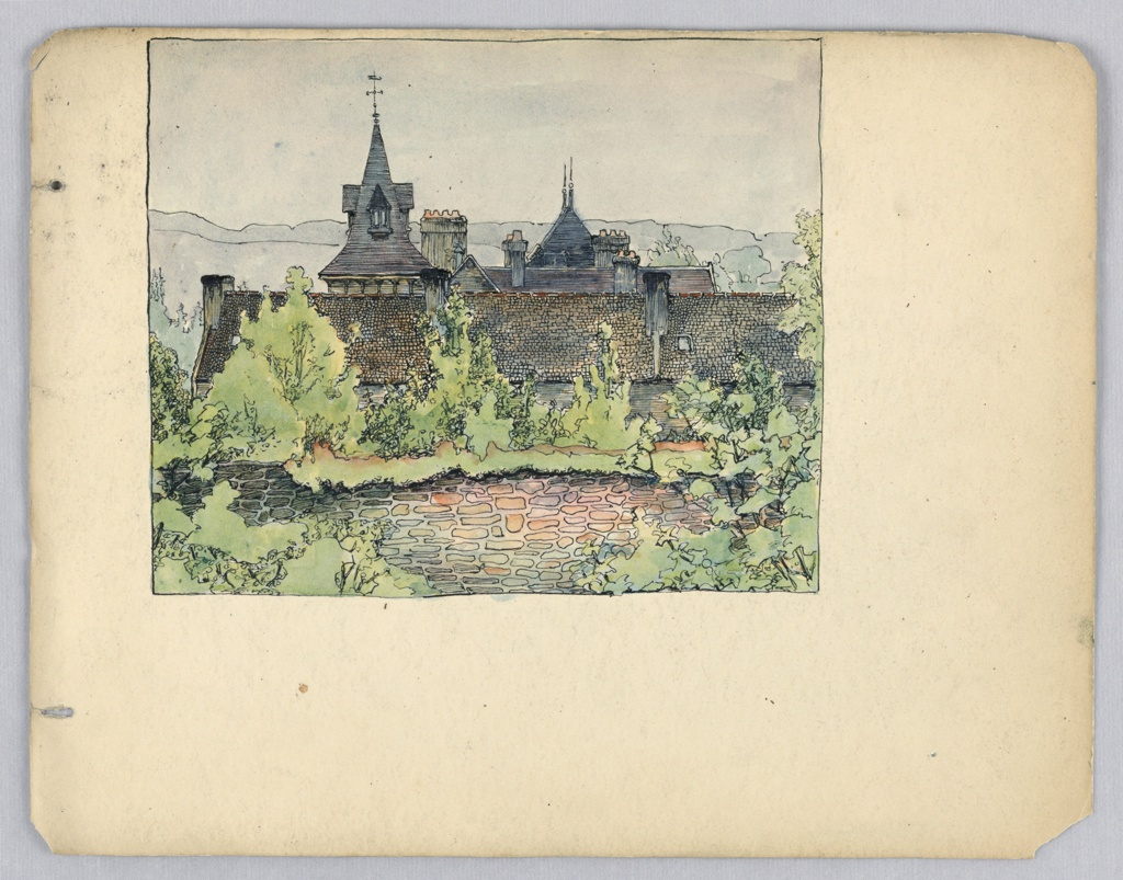 Drawing only on portion of page. Roofs of a line of houses with chimneys and towers behind stone wall. Portions of stone wall are covered with shrubbery. Trees and shrubbery are seen behind and in front of wall.