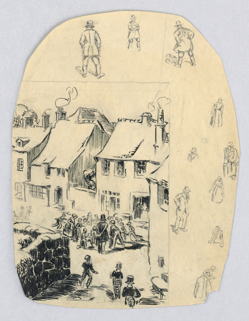 Pen and ink drawing of village scene, depicting gathering of a crowd of children around top-hatted man in front of several houses, separated by pencil line from smaller pencil sketches of men and women.